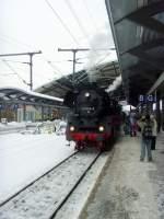 dampf/107550/dampflok-br-41-und-neuer-erfurter Dampflok BR 41 und neuer Erfurter Hbf, 5.12.2010