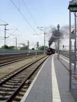 dampf/73159/einfahrt-in-erfurt---sonderzug-mit Einfahrt in Erfurt - Sonderzug mit Abteilwagen aus Bad Langensalza, Mai 2010