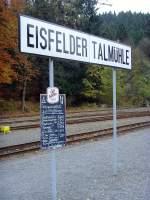 Eisfelder Talmuhle/101195/am-bahnsteig-eisfelder-talmuehle-oktober-2010 Am Bahnsteig Eisfelder Talmühle, Oktober 2010