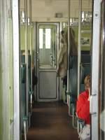 strecke/73396/mittelgang-im-bhwe-wagen-waehrend-der-sonderfahrt Mittelgang im Bhwe-Wagen während der Sonderfahrt auf der Ilmtalbahn