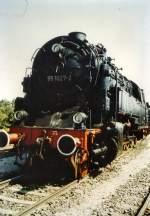 bhf-erfurt-west/77502/95-027-auf-der-lokausstellung-in 95 027 auf der Lokausstellung in Erfurt-West, um 1985