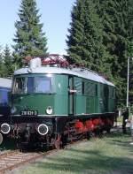 bhf-rennsteig/85894/e-18-218-auf-dem-bahnhof E 18 (218) auf dem Bahnhof Rennsteig Fahrzeugausstellung August 2010